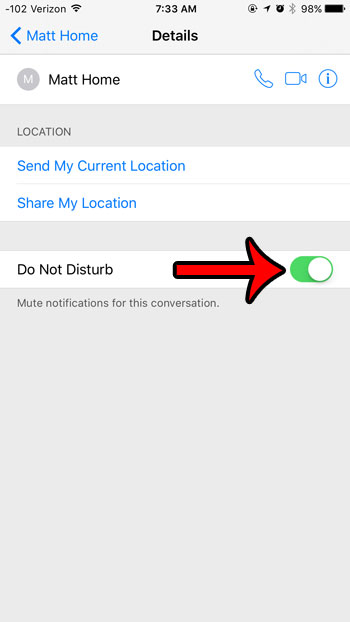 mute iphone text message conversation