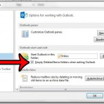 empty deleted items folder on exit in outlook 2013
