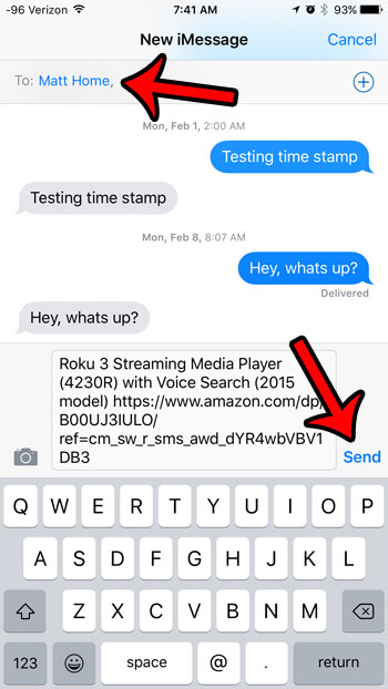 How to send a link in email on iphone text messages via