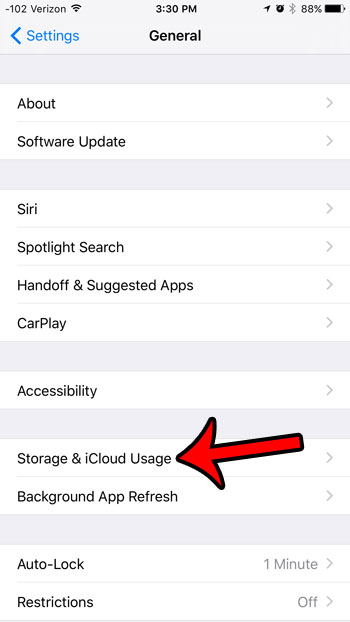 tap storage and icloud usage