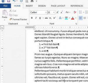 formatting marks in word 2013 example