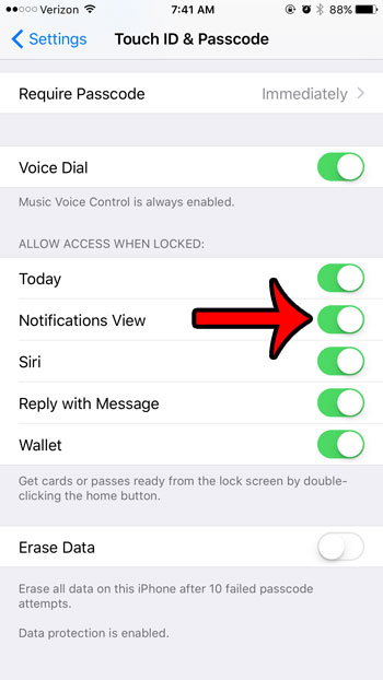 enable notification center on iphone lock screen