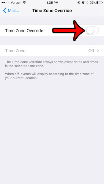 time zone override for calendar events