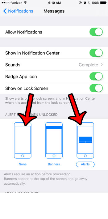 switch from banners to none or alerts