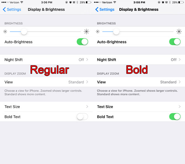 comparison of regular and bold iPhone text