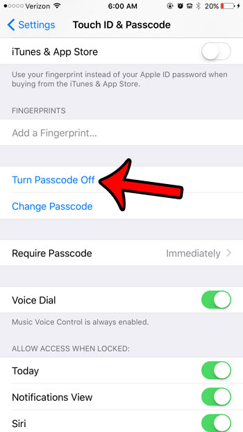 turn passcode off
