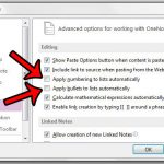 change list settings in onenote 2013