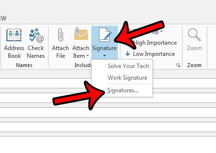 click the signature button, then click signatures