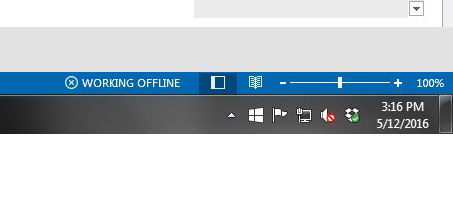 working offline outlook 2013 status bar
