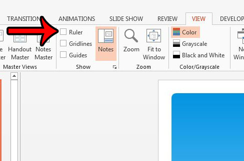 hide rulers in powerpoint 2013
