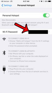 where is iphone 6 hotspot password