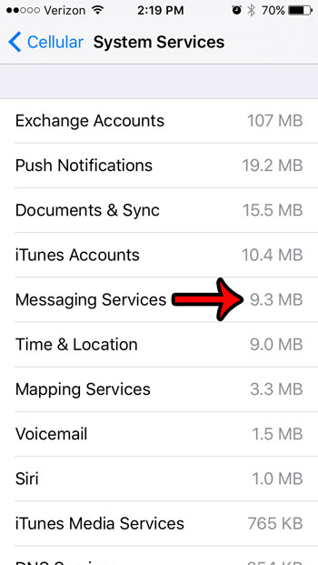 check data usage for messaging on iphone