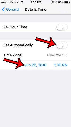 switch to manual time setting option