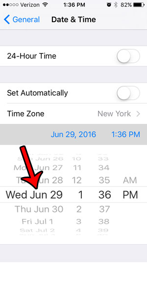 change today's date on your iPhone