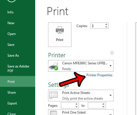 click the printer properties button