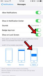 how receive text message alerts iphone 6