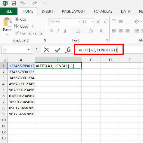 trim a digit from a number in excel 2013