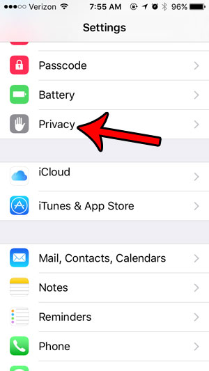 iphone 5 privacy menu