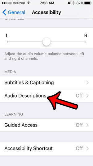 where is audio descriptions setting on iphone - step 4