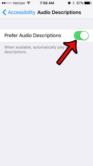 how to turn on iPhone 5 audio descriptions - final step