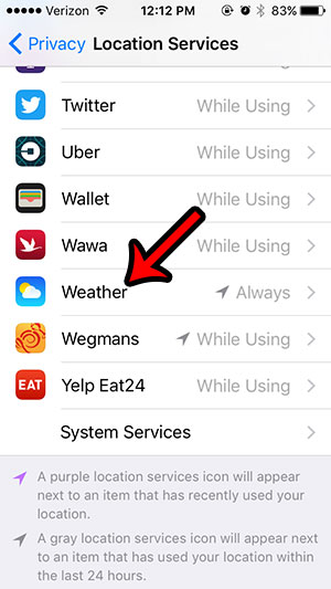 weather location services settings