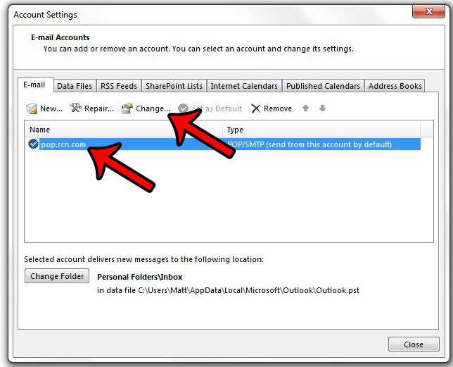 how to change outlook 2013 server settings - step 3