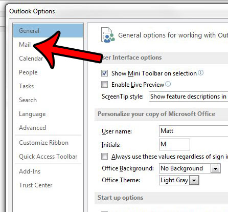 click the mail tab in the outlook options window