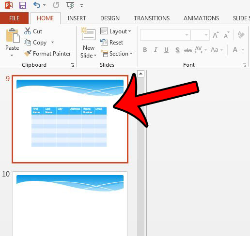 how to delete a table in Powerpoint 2013