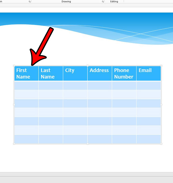 delete an entire table in Powerpoint 2013