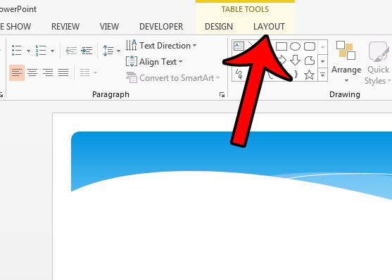 delete a table in Powerpoint