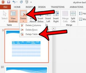remove table from Powerpoint slide