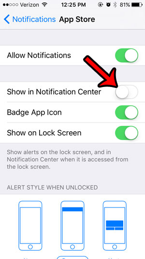 remove the app store from the iphone notification center