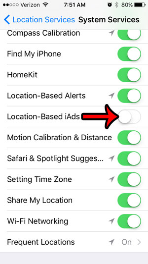 how to turn off location based iads on an iphone