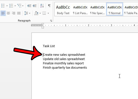 select insertion point for word 2013 check mark