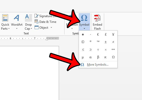 open symbols menu to find word 2013 check mark