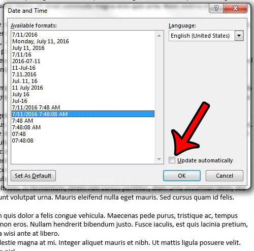 how to quickly insert the date and time in a word 2013 document