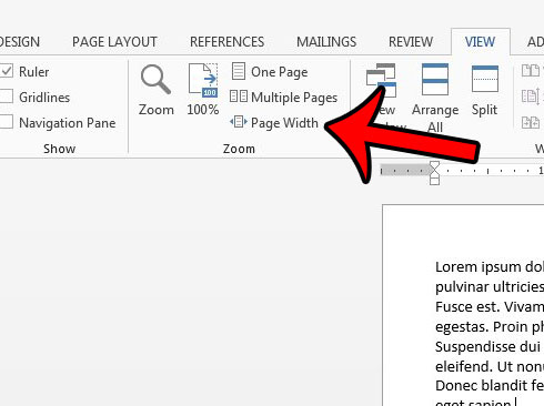 make document the width of the screen in word 2013