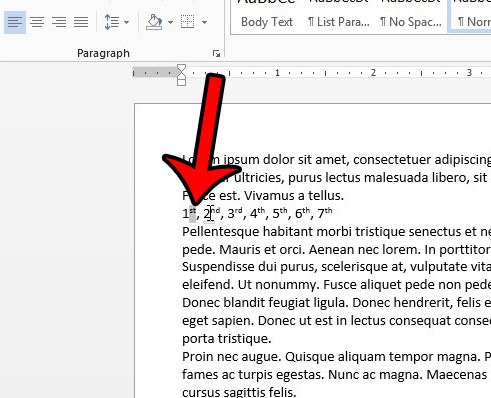 remove existing superscripting in word 2013 - step 1