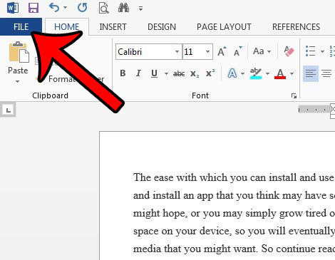click the file tab to show readability statistics in word 2013