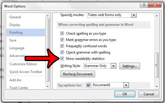 show readability statistics in word 2013 on the spelling and grammar check