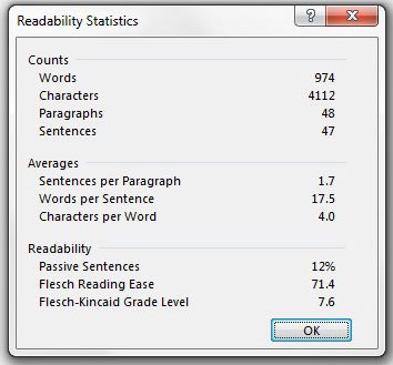 example or readability statistics in word 2013