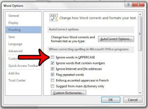 spellcheck uppercase words in word 2013