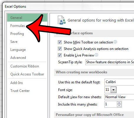 stop green triangles in excel 2013