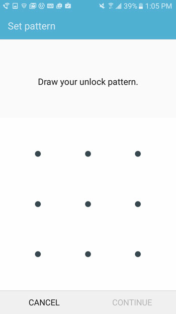 how to use a swipe pattern instead of a passcode on galaxy on5