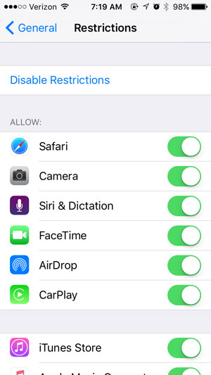 use restrictions on an iphone