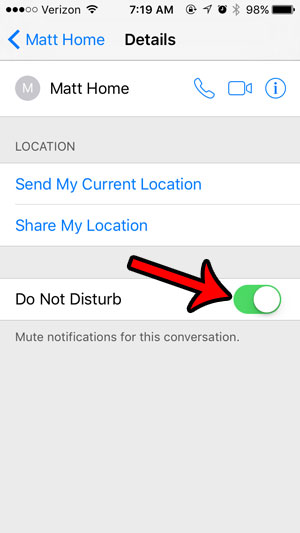 mute notifications in iphone text message