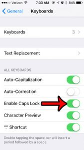 how to activate caps lock on an iphone