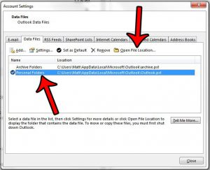 how to find pst file for outlook email