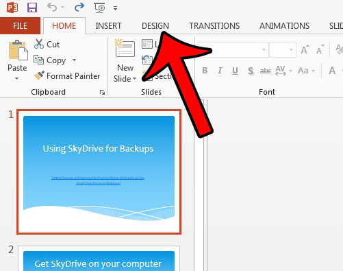 open the powerpoint 2013 design tab