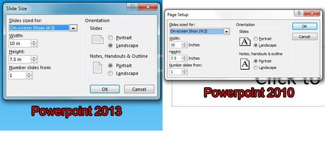 page setup comparison for powerpoint 2010 and powerpoint 2013